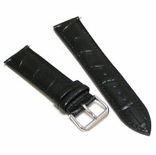 20mm Black Genuine Leather Watch Strap Band for Any Watch