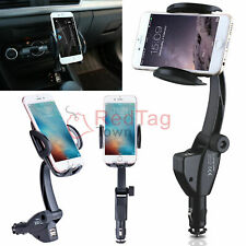 Dual USB Car Charger Holder Mount w/ Cigarette Lighter Chargers For Mobile Phone