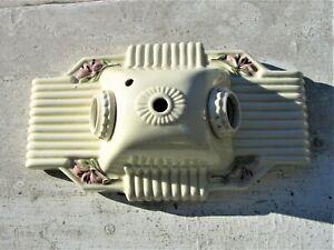 """Antique Vtg Art Deco Flush Mount Ceiling Fixture Light Porcelain Ceramic 10 3/4"""""""