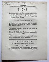 "French Revolution Regulations - orig 1791 France National Assembly ""Loi"""