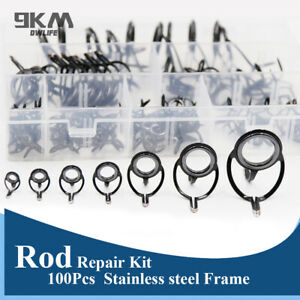 Black Ceramic Ring Rod Repair Kit 100Pcs Mixed Size Stainless Steel with Box