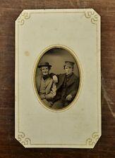 Antique Tin Type Photo Two Gentleman (Cowboys?)