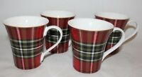 222 Fifth Wexford Red Tartan Plaid Porcelain Coffee Mugs Set of Four (4) New
