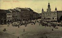 Budweis České Budějovice s/w AK ~1920/30 Blick auf den Ringplatz Kutschen Autos