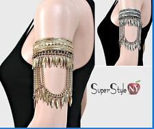 Tribal Gypsy Feather Drop Upper Arm Cuff Leaf Charm Bracelet Body Jewelry Dance