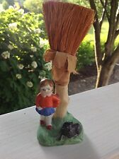 Antique Japanese Porcelain Crumb Brush School Girl with Dog by Tree 1900-1940