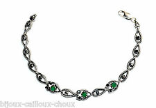 Bracelet argent massif 925 émeraude vert marcassite 18cm bijou A4