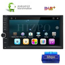"OBD-II + Double Din 7"" Head Unit Android 6.0 Car Stereo 1024x600 GPS Nav Touch A"