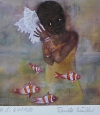 RENATE MULLER MUELLER MEMORIES OF EAST AFRICA HAND SIGNED Litho. GERMAN ARTIST