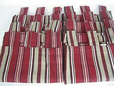 "Lot of 8 Tan / Maroon Stripes Tab Panels LINDEN STREET JCPenny 24""'w x 35""L EUC!"