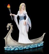 Elves Figurine - Mystica on Dragon Boat - Fantasy Fairy Ship Statue
