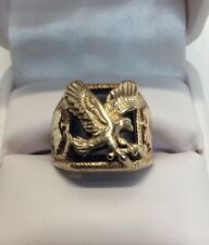 Flying Eagle Black Onyx Men's Ring Yellow Gold(j357)