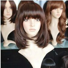 FIXSF19 medium health natural brown hair wig with bang wigs for women