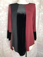 Alfani NWT L Tunic Colorblocked Asymmetrical Top Macy's malbec black gray shirt