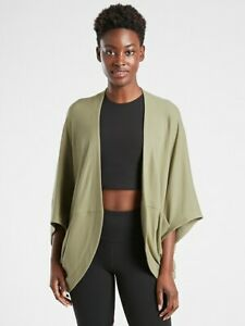 ATHLETA Cocoon Wrap L Large   Shadow Olive CYA Sweater Top #599647 NEW
