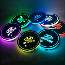 2PCS RGB LED Car Cup Holder Pad for Hyundai Auto Interior Atmosphere Lights