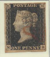 Great Britain Stamp Scott #1, Penny Black, Used, Plate #7, Four Margins, N/B