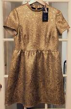 "BEAUTIFUL""MARKS&SPENCER LIMITED""GOLD BROCADE WAISTED DRESS UK 14 EU 42 BNWT"