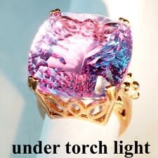 CHANGE BLUE PURPLE SPINEL CONCAVE RING 47.9CT.925 STERLING SILVER ROSE GOLD SZ 7