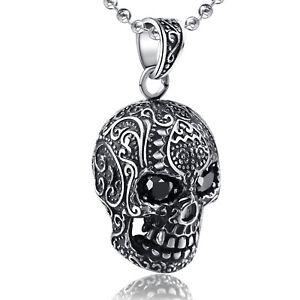 FASHION ATTITUDE silver tattoo skull pendant black eyes stainless steel necklace