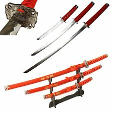 "3pc 40"" RED Samurai Katana Swords DRAGON Carbon Steel Collectible w/STAND"