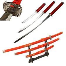 "3pc 40"" RED Samurai Katana Swords DRAGON Carbon Steel Collectible w/STAND"