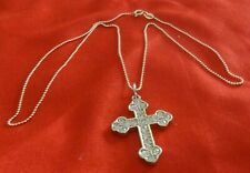 ITALY Vintage Gold Plated 925 Sterling Silver Cross Pendant & Chain -18 in-4.9 g
