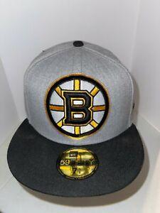NWT NHL Boston Bruins Grey 59Fifty 7 5/8 New Era Hat K20