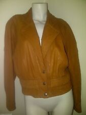 Vintage H & D REAL TAN LEATHER CROP JACKET Size 10 12 M