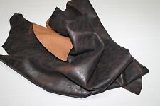 Italian Goatskin leather skin CRINKLE ANTIQUED BROWN DOUBLE SIDES 8sqf #A2069