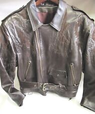 JEAN CLAUDE JITROIS AROUND THE WORLD MAP LEATHER MOTORCYCLE STYLE JACKET- M