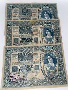 6-1919 Austria 1,000 Kronen Notes