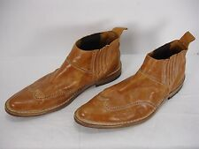 MOMA COGNAC DISTRESSED LEATHER WINGTIP ANKLE BOOTS BOOTIES SHOES MEN'S 41