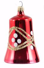 Red Gold White Glass Glitter Bell Christmas Ornament Holiday Decoration