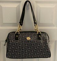 TOMMY HILFIGER AUTHENTIC! BEAUTIFUL SIGNATURE SATCHEL JACQUARD TH LOGO BLACK