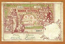 Belgium, 20 Francs, 1919, P-67, F