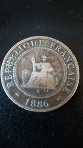 FRENCH INDO-CHINA 1886 year 1 CENT bronze