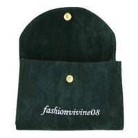 Lot of (x2) Dark Green Soft Velvet Watch Pouch Jewelry Storage Case Bag 13x8cm