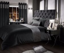 Luxurious Crushed Velvet Faux Silk Duvet Cover Plush Glam Mink Bedding Champaign Double Charcoal