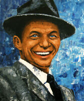 oil painting, palette knife painting ,original portrait painting Frank Sinatra
