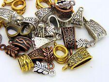 30 Pcs - Mixed Colour & Style Tibetan Fancy Jewellery Bails Hollow Findings E8