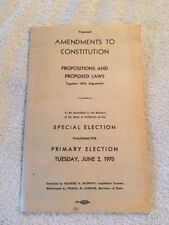 Vintage Proposed Amendments To The Constitution Special Election Tue June 2 1970