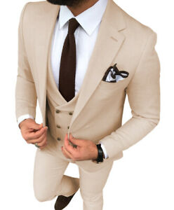 Formal 3Piece Suits Mens Blazer+Vest+Pant Tuxedo Notch Lapel Groom Retro Classic
