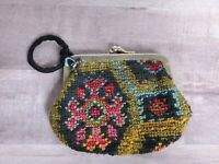 Vintage Needlepoint Coin Purse Keychain