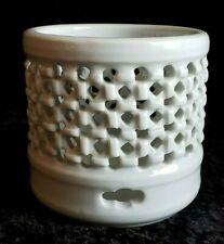 Vintage rare Celadon basket weave pierced braid design signed pale green dish