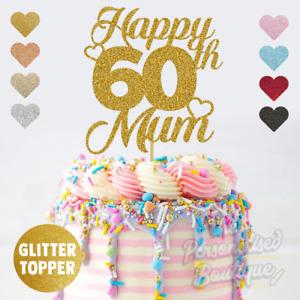 Personalised Custom Glitter Cake Topper 60th Mum Birthday 16 18 21 25 30 Any Age