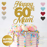 Personalised Custom Glitter Cake Topper 60th Mum Birthday 16 18 21 25 30 Any Age