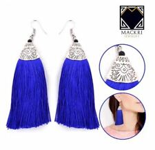 MACKRI Ethnic Bohemian Long Hook Tassel Drop Earrings BLUE
