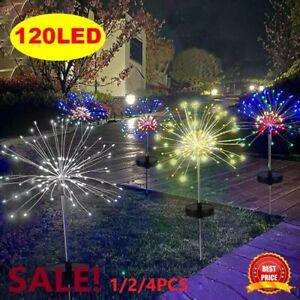 2/4X 120LED Solar Power Firework Garden Path Lights Lamp Starburst Stake Outdoor
