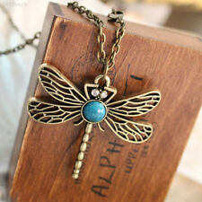 Dragonfly Necklace with Turquoise bead, New, Long Chain, Bronze effect